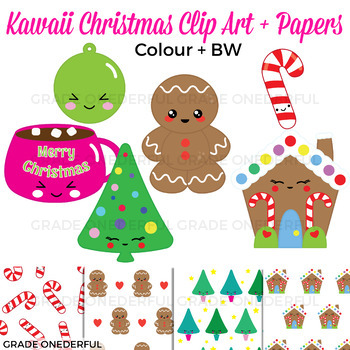 Kawaii Christmas Clip Art plus Papers in color and black/white. Includes an ornament, cup of hot chocolate, candy cane, tree, gingerbread man, gingerbread house and 4 matching papers!