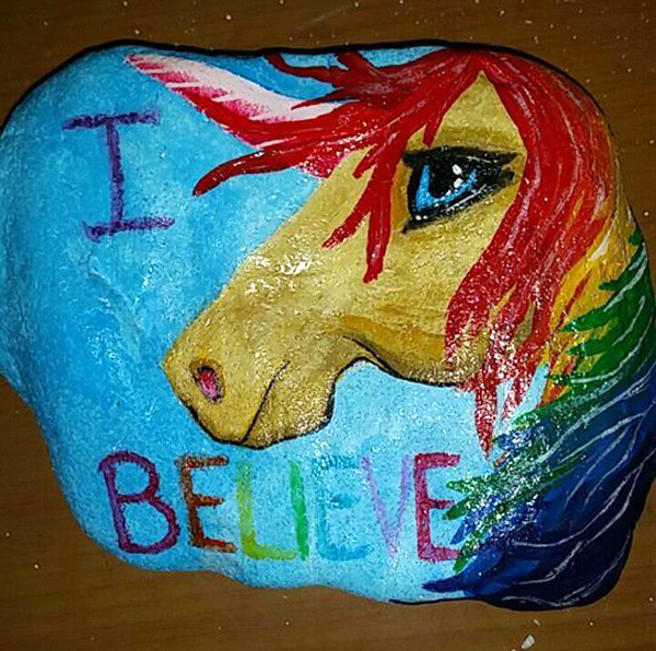 rainbow unicorn rock painting idea