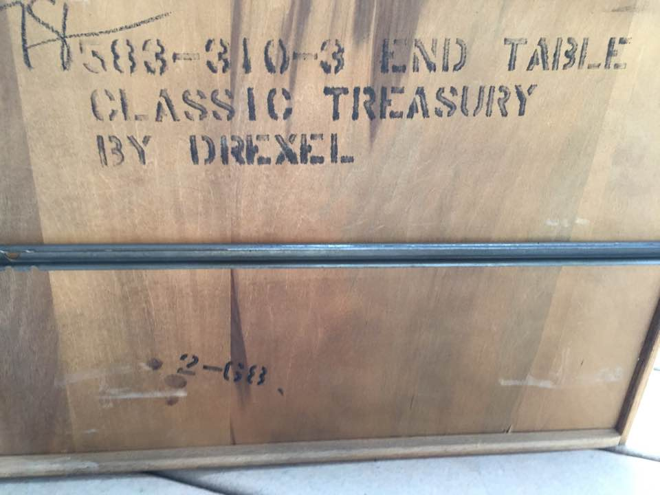 Manufacturer's mark on the underside of the drawer. 583-310-3 End Table Classic Treasury by Drexel. 2-68