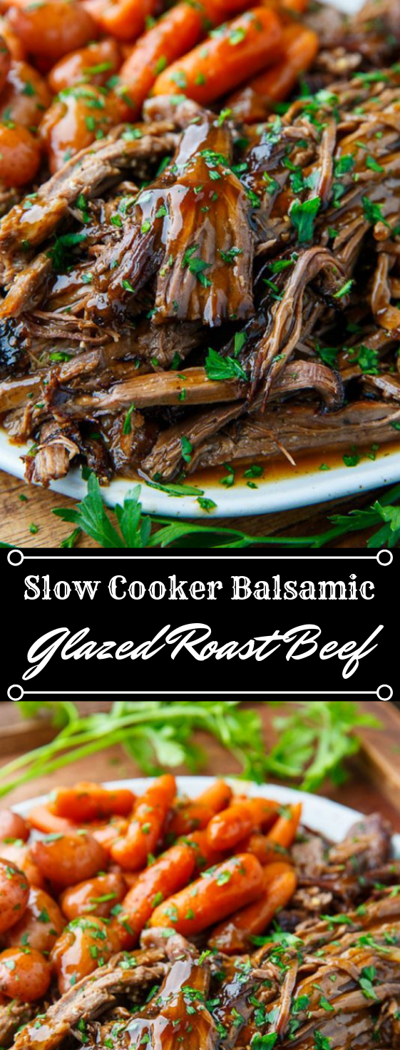 Slow Cooker Balsamic Glazed Roast Beef #dinner #cooker #healthyrecipes #lunch #noodles