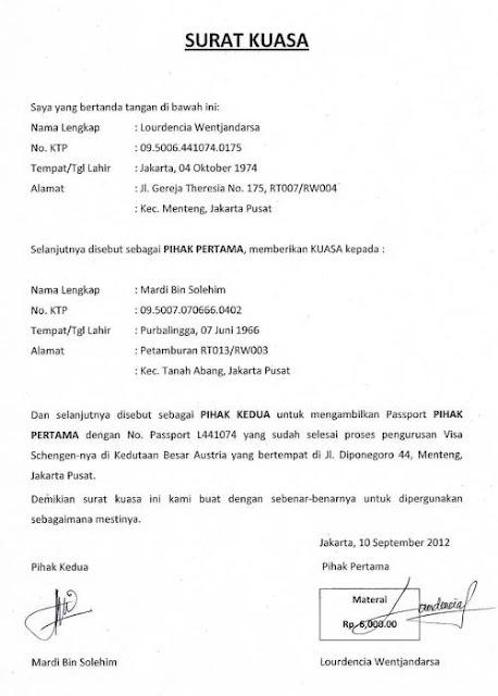 Contoh Surat Kuasa Umum (via: indozone.id)