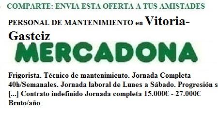 Vitoria-Gasteiz, Alava-Araba. Lanzadera de Empleo Virtual. Oferta Mercadona