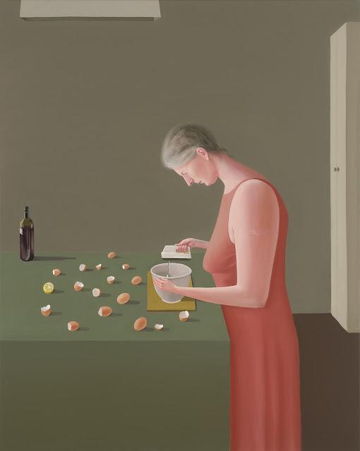 Prudence Flint, pinturas, imagenes de soledad femenina bonitas, chidas de arte inspirador, mujer cocinando,