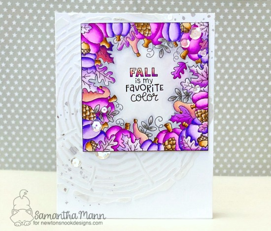 Fall is my Favorite Color Card by Samantha Mann | Fall Fringe Stamp Set and Tree Rings Stencil by Newton's Nook Designs #newtonsnook #handmade