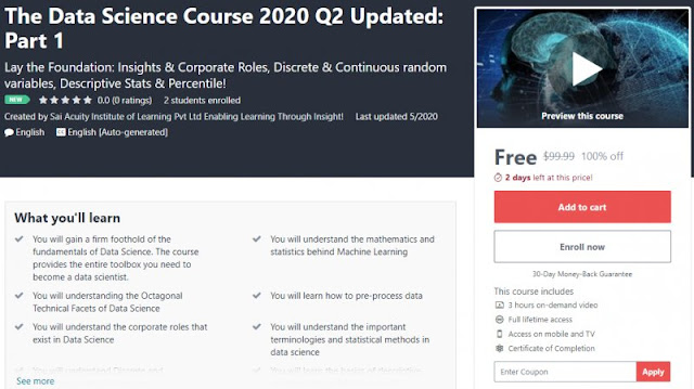 [100% Off] The Data Science Course 2020 Q2 Updated: Part 1| Worth 99,99$