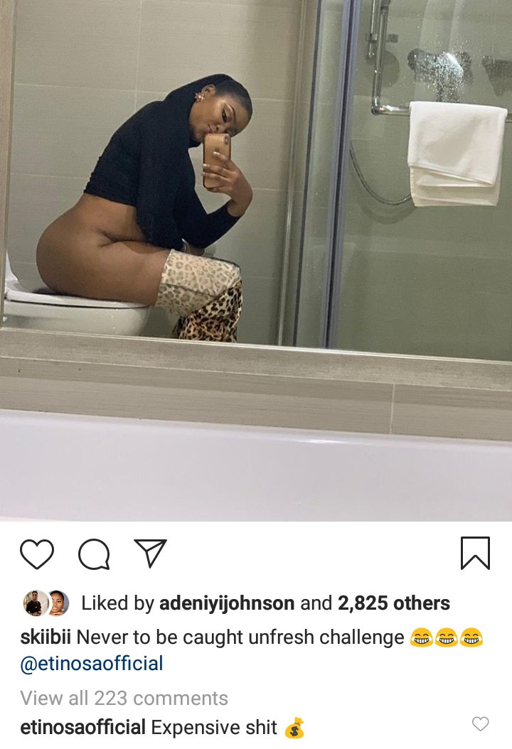 Actress Pat Ugwu joins Etinosa in taking photo while in the toilet