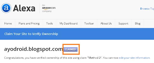 Cara Claim / Verifikasi Alexa di Blog