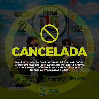 Prefeitura de Picuí cancela festividades dos 116 anos de emancipação política