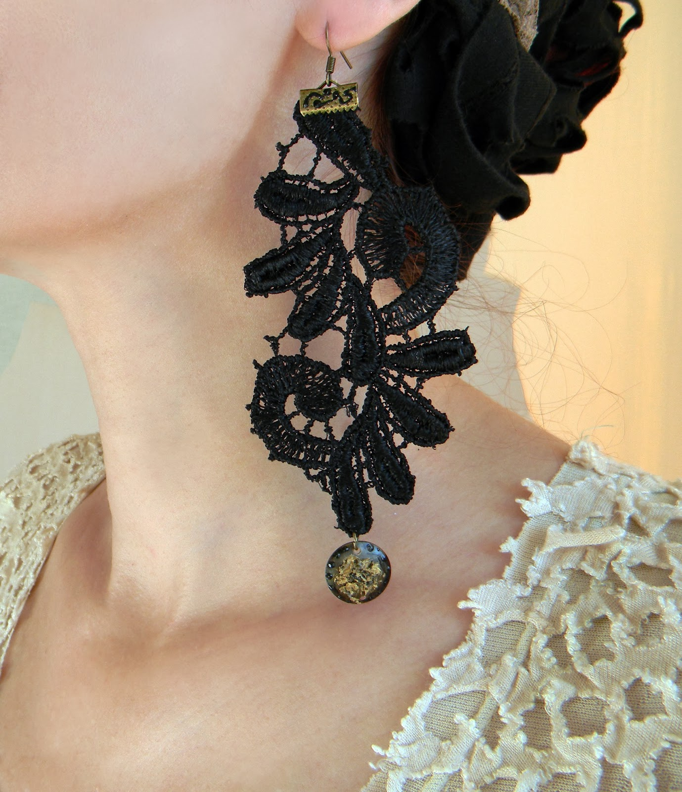 Lace Earrings Black Gothic Long Earrings Art Nouveau Jewelry