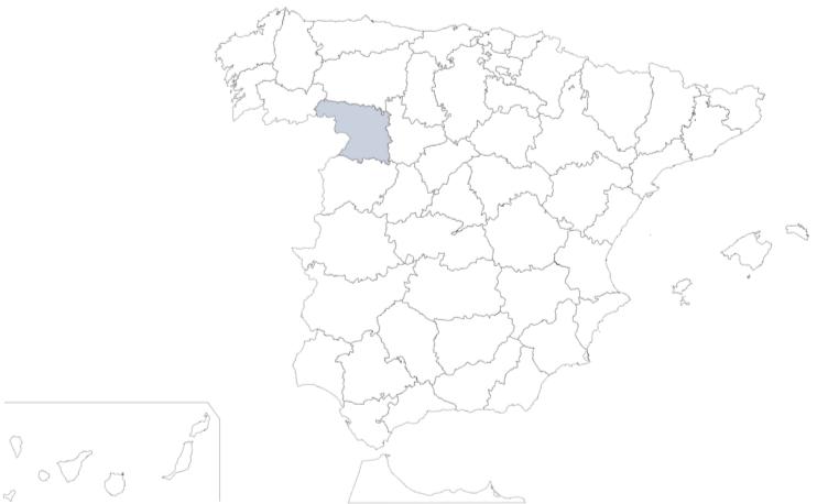 Provincia de Zamora en mapa de España