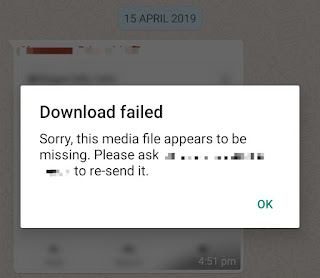 The media file appears to be missing error on WhatsApp