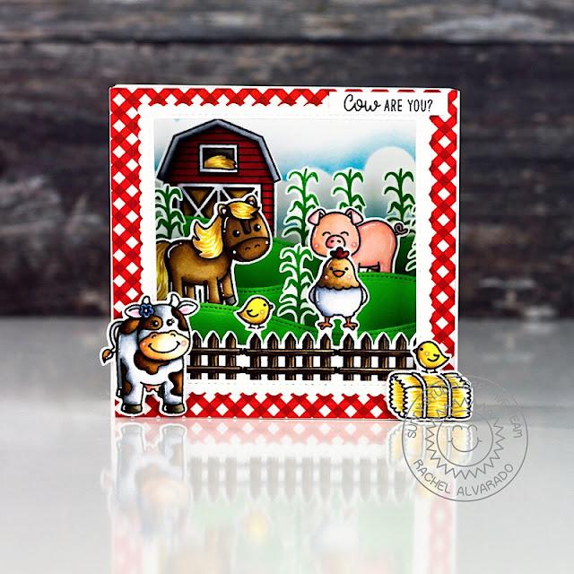 Sunny Studio Stamps: Miss Moo Barnyard Buddies Woodland Borders Fancy Frames Punny Card by Rachel Alvarado