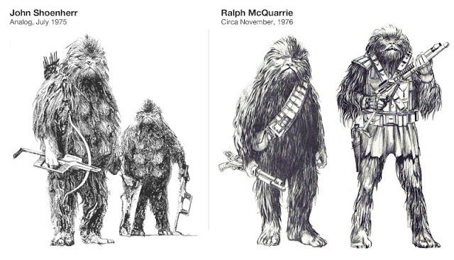 Criaturas de John Schoenherr comparadas con los diseños de Ralph McQuarries de Chewbacca