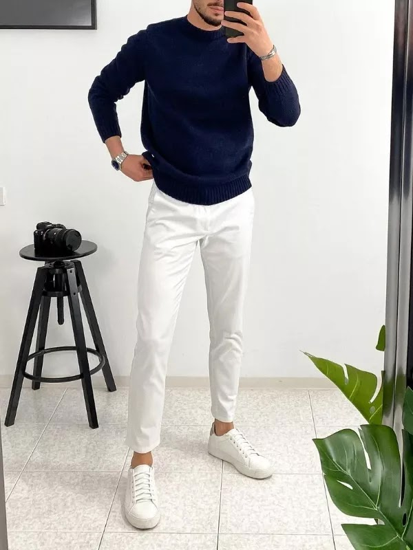 White sneakers with sweatshirts