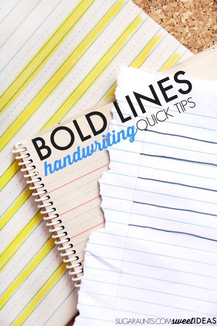 Bold Lines Handwriting Trick The OT Toolbox