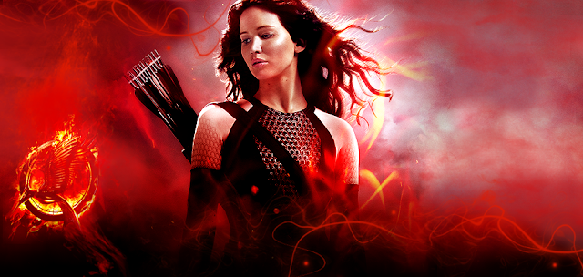 Jennifer Lawrence în rolul Katniss Everdeen din filmul The Hunger Games: Catching Fire