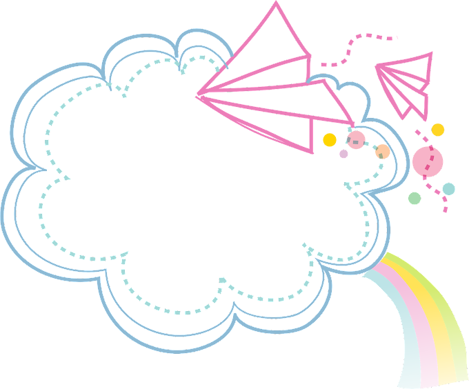 Cartoon, Clouds Border, clouds with rainbow and flying paper plane, frame, blue png free download by: pngkh.com