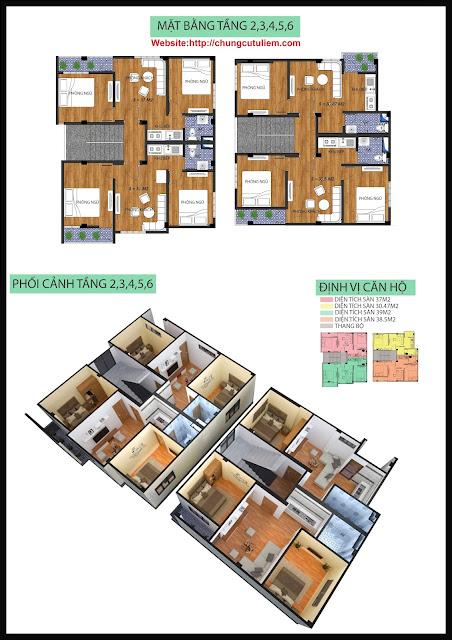thiết kế tầng 2 đến tầng 6 chung cư mini Minh Đại Lộc 4