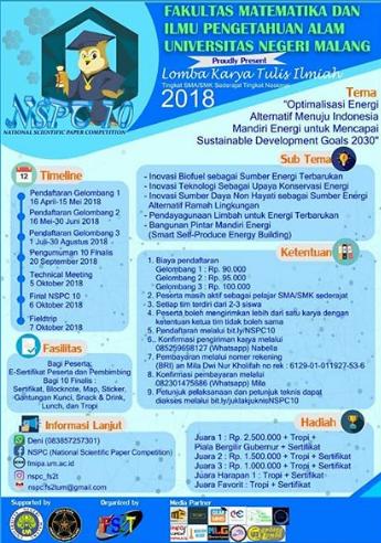 Lomba Karya Tulis Ilmiah SMA/SMK Nasional NSPC10 2018 UM