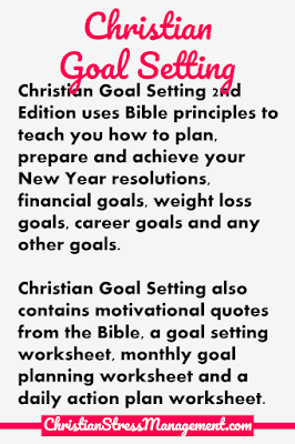 Christian Goal Setting 2nd Edition uses principles from the Bible to teach you how to plan, prepare and achieve your goals regardless of whether you are setting New Year resolutions, financial goals, weight loss goals, career goals, sales goals, relationship goals or any other goals in life.  This Christian self help book also contains motivational goal setting quotes from the Bible, a goal setting worksheet, monthly goal planning worksheet and a daily action plan worksheet to help you achieve your goals.