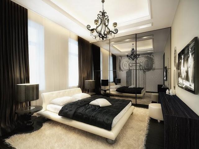 chambre noir et blanc design. Black Bedroom Furniture Sets. Home Design Ideas