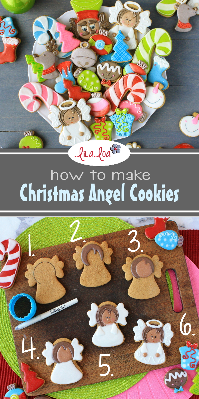 Christmas angel sugar cookie decorating tutorial