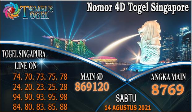 Nomor 4D Togel Singapore, Sabtu 14 Agustus 2021 Tembus Togel
