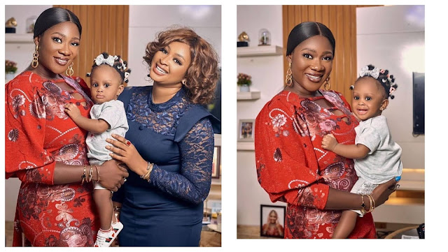 Check out the lovely photos as Mercy Johnson cuddles Actress Etinosa daughter for the first time