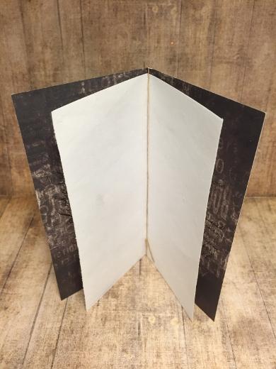 Ett elegant sätt att inkludera skrivyta inuti kortet, men ändå visa upp baksidan på det mönstrade pappret.