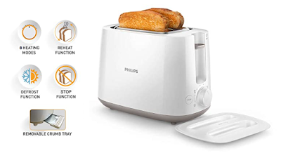 Philips Daily Collection HD2582/00 830-Watt 2-Slice Pop-up Toaster for Your Daily Breakfast
