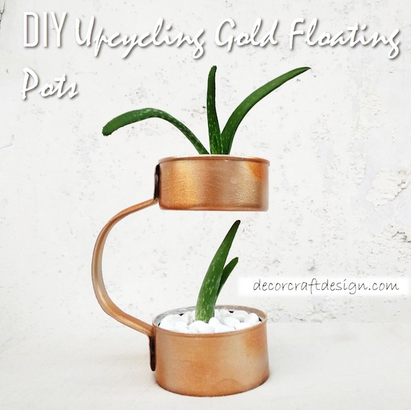 DIY Upcycled Tin Cans Made into a Floating Planter