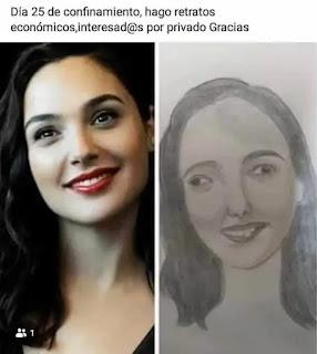 Foto de mujer y retrato muy mal hecho