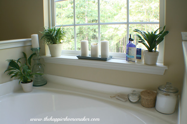 window over garden bath tub with candles and houseplants in window sill