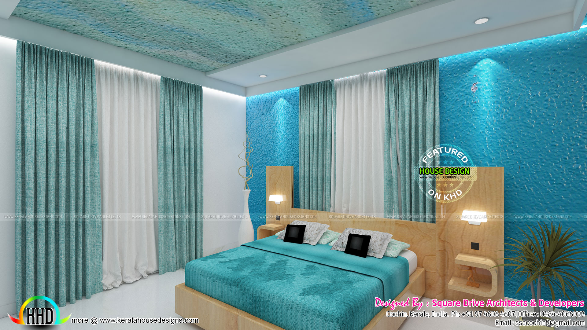 Blue and pink color theme bedroom interior kerala home for Blue themed room