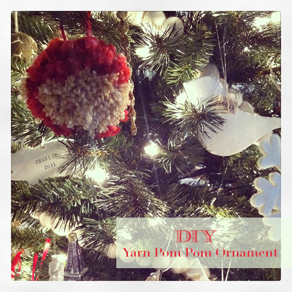 DIY yarn pom pom ornament tutorial from oh lovely day
