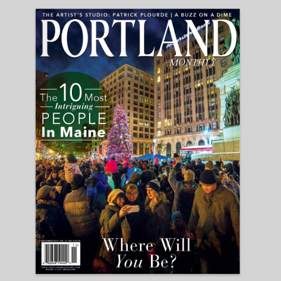 Portland, Maine USA Photo by Corey Templeton of the November 2014 Tree Lighting in Monument Square on cover of November 2016 Portland Magazine.