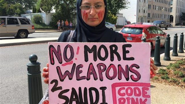 US activists from CODE PINK protest arms sales to Saudi Arabia