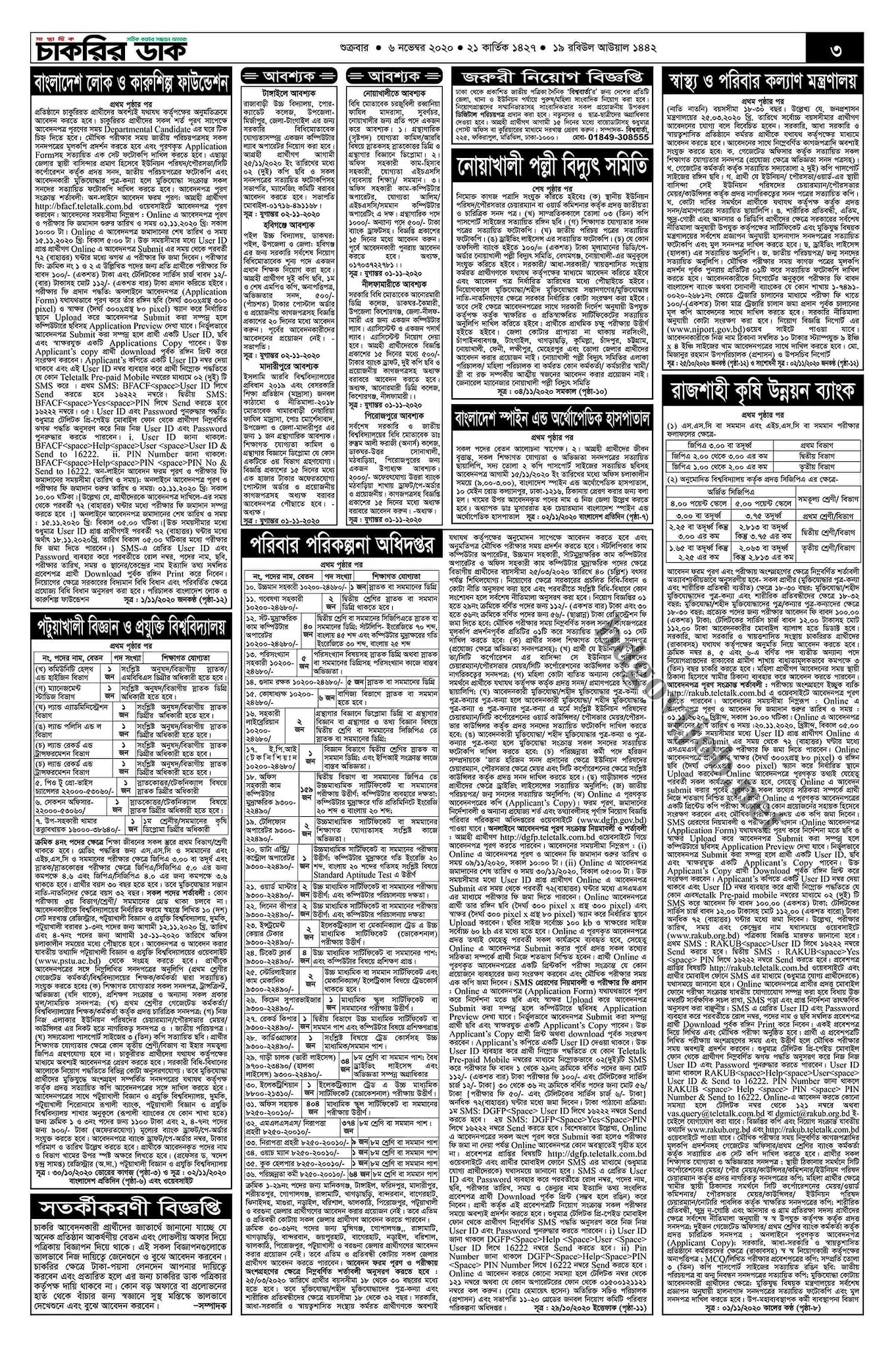 Saptahik Chakrir dak Newspaper 06 October 2020 - সাপ্তাহিক চাকরির ডাক পত্রিকা ০৬ নভেম্বর ২০২০