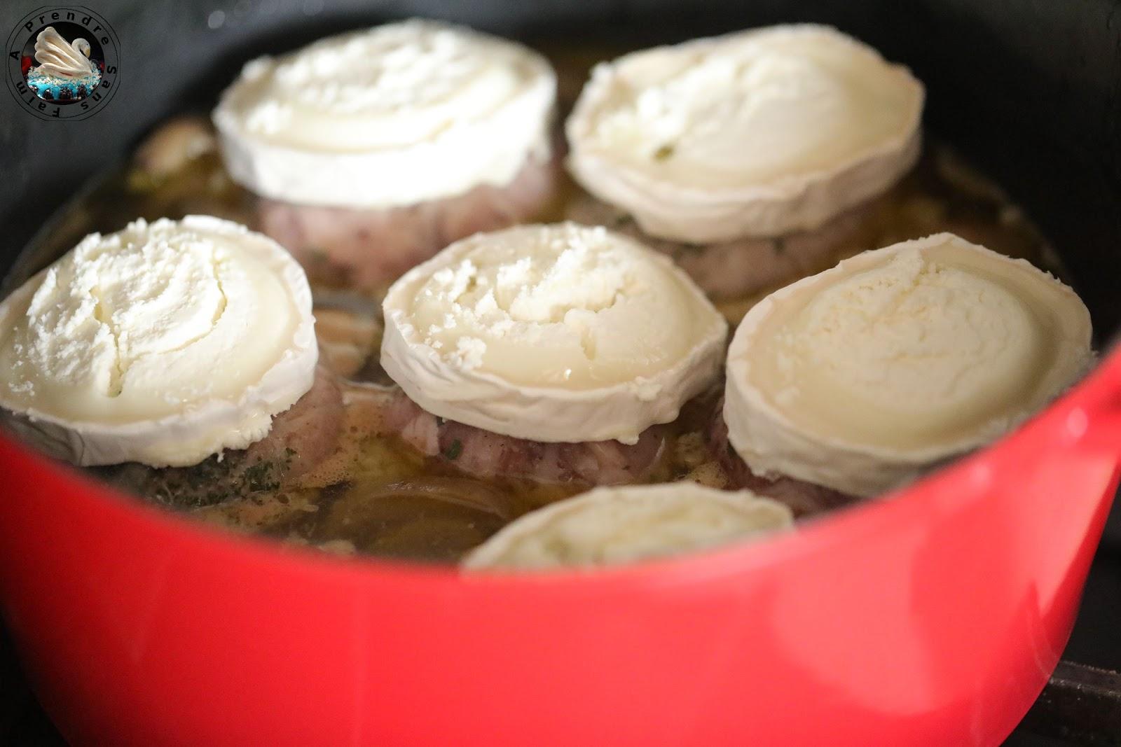 Cocotte de crépinette de porc, chèvre et champignons