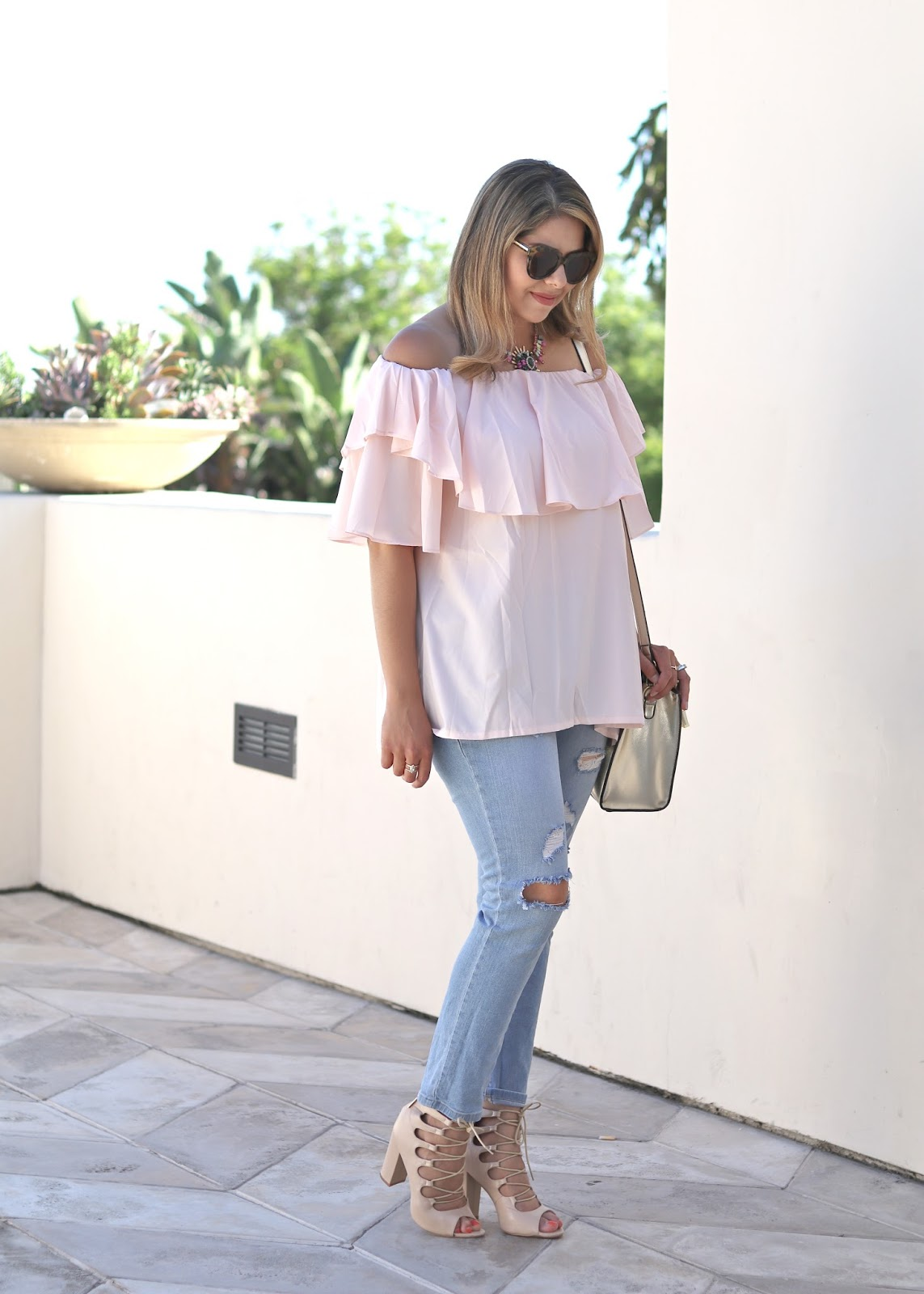 chicwish blush top, cute blush top, distressed skinny jeans, charlotte russe jeans, cute outfit for summer, pastel casual outfit, off the shoulder outfit
