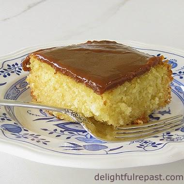 Grandma's Little Yellow Cake - Caramel Icing / www.delightfulrepast.com