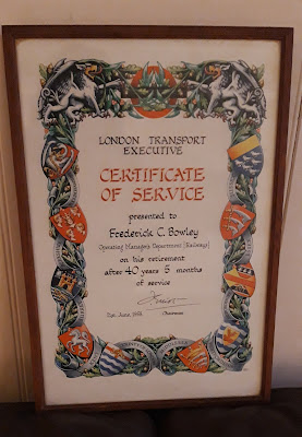 London Transport Certificate Of Service Frederick C Bowley 1958