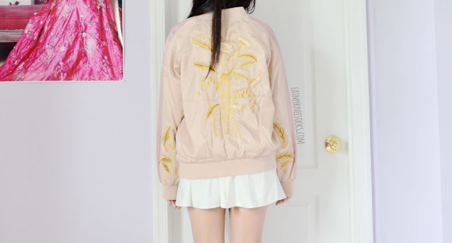 Details on the rose gold silky satin embroidered floral souvenir bomber jacket from Zaful.