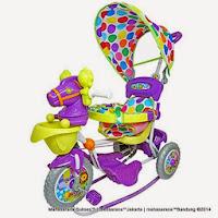 Sepeda Roda Tiga Royal RY9088CJ Kuda dengan Canopy dan Jok Kain