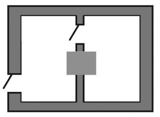 Печь в центре между комнат