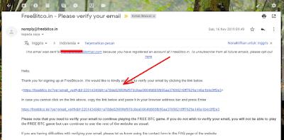 Verifikasi email dari Freebitcoin