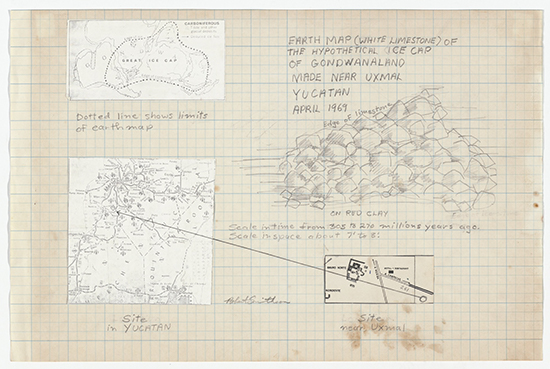 Robert Smithson Earth Map (White Limestone) of the Hypothetical Ice Cap of Gondwanaland Made Near Uxmal Yucatan, April 1969, Hypothetical Continent (Icecap of Gondwanaland), Yucatan, Mexico, 1969 Pencil and cut-and-pasted printed paper on graph paper and original 126 format transparency 24.4 x 37.1 cm