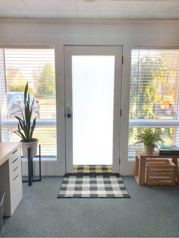 Office wall makeover with blinds open