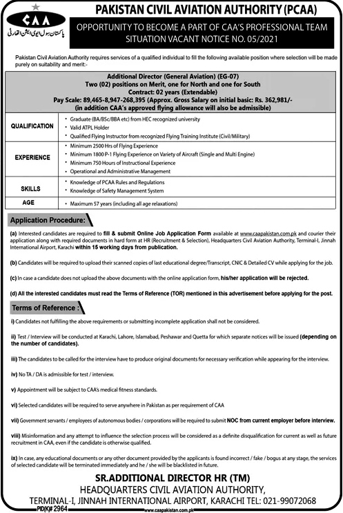 Latest Jobs in Pakistan Civil Aviation Authority PCAA 2021