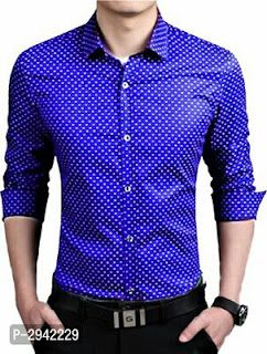 Cotton Blend Dotted Print Shirts For Men